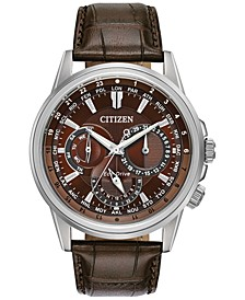 Eco-Drive Men's Calendrier Brown Leather Strap Watch 44mm