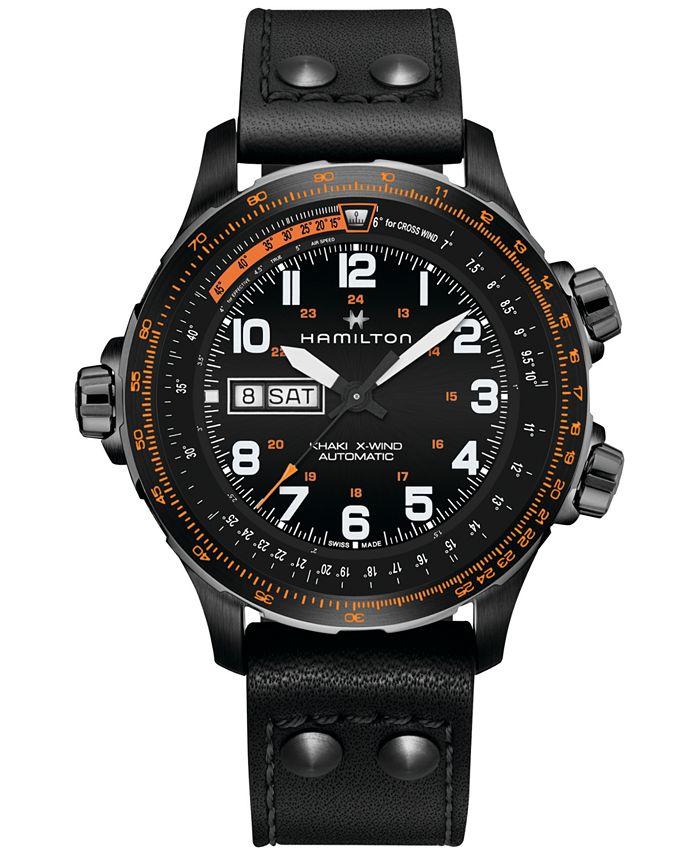 Hamilton - Men's Swiss Automatic Khaki X-Wind Black Leather Strap Watch 45mm