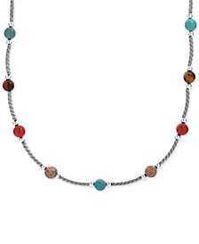 "American West Multi-Stone Collar Necklace (21-3/8 ct. t.w.) in Sterling Silver, 17"" + 3"" extender"