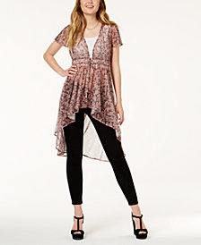 American Rag Juniors' Printed Mesh Maxi Top, Created for Macy's