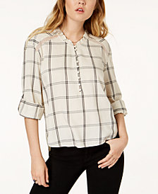 American Rag Juniors' Crochet-Trim Roll-Tab-Sleeve Shirt, Created for Macy's