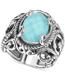 Turquoise/Rock Crystal Doublet Ring in Sterling Silver