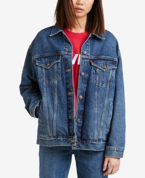 Baggy Trucker Cotton Denim Jacket in Blue