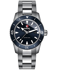 Rado Men's Swiss Automatic HyperChrome Captain Cook Hardened Titanium Bracelet Watch 45mm