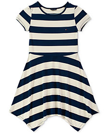 Tommy Hilfiger Big Girls Striped Handkerchief Hem Dress