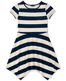 Tommy Hilfiger Little Girls Striped Handkerchief-Hem Dress