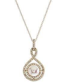 White Cultured Pearl (6-1/2mm) and Diamond (1/4 ct. t.w.) Pendant Necklace in 14k Gold