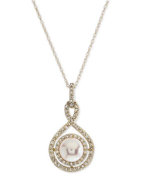 Macy's White Cultured Pearl (6-1/2mm) and Diamond (1/4 ct. t.w.) Pendant Necklace in 14k Gold