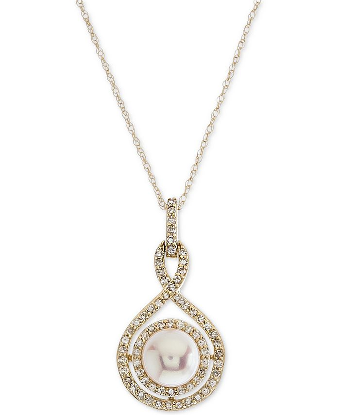 Macy's - Cultured Pearl (6-1/2mm) and Diamond (1/4 ct. t.w.) Pendant Necklace in 14k White Gold