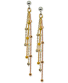 Giani Bernini Tricolor Beaded Drop Earrings in Sterling Silver & 18k Gold-Plate & 18k Rose Gold-Plate, Created for Macy's