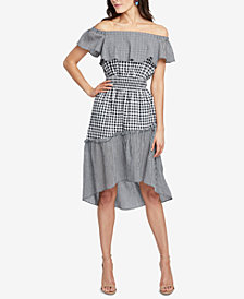 RACHEL Rachel Roy Ava Off-The-Shoulder Gingham High-Low Dress, Created for Macy's