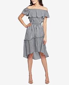RACHEL Rachel Roy Ava Off-The-Shoulder Gingham High-Low Dress, Created for Macy's