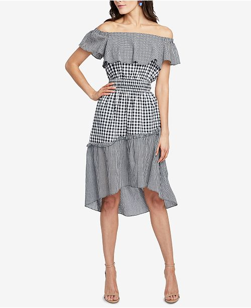 Rachel Roy Discount Gowns: RACHEL Rachel Roy Ava Off-The-Shoulder Gingham High-Low
