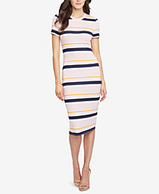 RACHEL Rachel Roy Striped Ribbed T-Shirt Dress, Created for Macy's