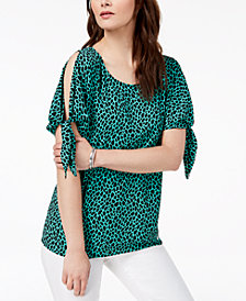 MICHAEL Michael Kors Split-Sleeve Leopard-Print Top, Regular and Petite