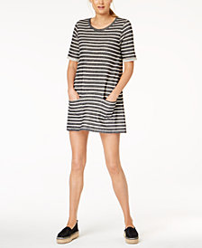 French Connection Cotton Striped T-Shirt Dress