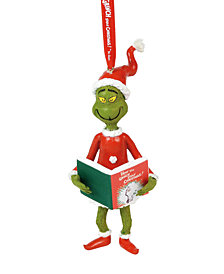 Department 56 Grinch with The Book Ornament