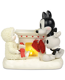 Department 56 Snowbabies At The Mantel With Mickey Figurine
