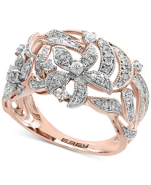EFFY Collection EFFY® Diamond Pavé Floral-Inspired Statement Ring (5/8 ct. t.w.) in 14k Rose Gold