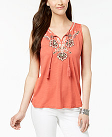Style & Co Embroidered Tassel-Tie Top, Created for Macy's