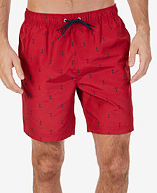 "Nautica Men's Quick-Dry Anchor-Print 8"" Swim Trunks"
