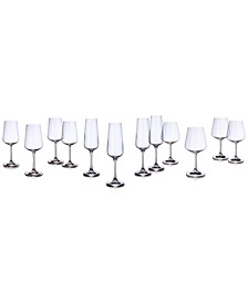 Set of 12 Ovid Crystal Stemware, Service for 4