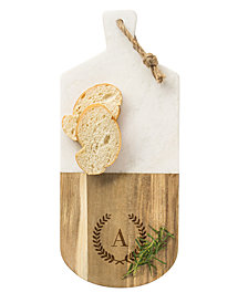 Cathy's Concepts Personalized Marble & Acacia Serving Board