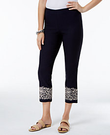 Charter Club Tummy-Control Embroidered Capri Pants, Created for Macy's