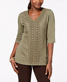 JM Collection Embellished Lace-Contrast Top, Created for Macy's