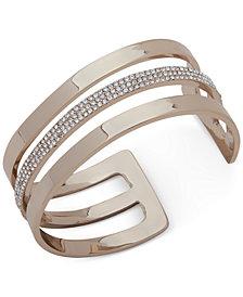 DKNY Gold-Tone Pavé Triple-Row Cuff Bracelet