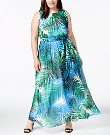 Calvin Klein Plus Size Palm-Print Maxi Dress