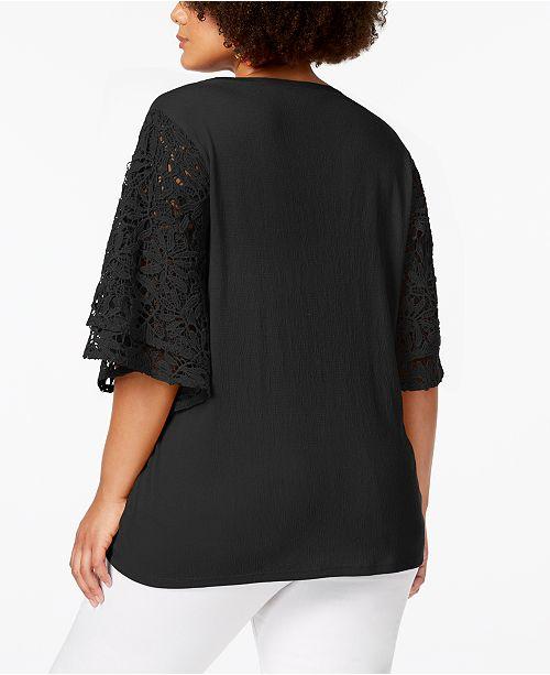 Top Sleeve Size Crochet Scarlett Black Love Plus C6wXqZvxpx
