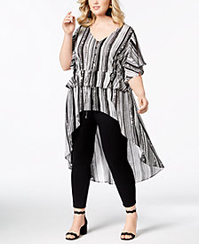 NY Collection Plus Size Striped Peplum High-Low Top