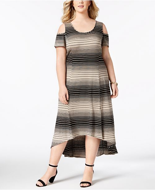 cfe0e50732a1a7 NY Collection Plus Size High-Low Cold-Shoulder Dress   Reviews ...