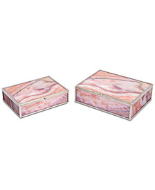 Mundi Set Of 2 Boxes Pink Geode
