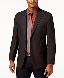 Michael Kors Men's Classic Fit Charcoal/Red Neat Sport Coat