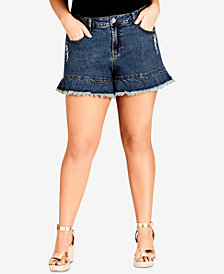 24a3120acc4 City Chic Trendy Plus Size Ruffled Denim Shorts