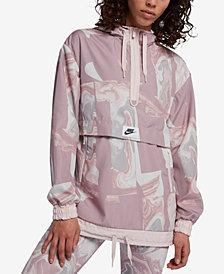 Nike Sportswear Marble-Print Half-Zip Hooded Jacket