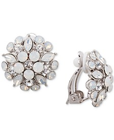 Gold-Tone Multi-Stone Flower Clip-On Stud Earrings