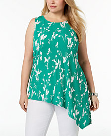 Alfani Plus Size Printed Asymmetrical-Hem Top, Created for Macy's