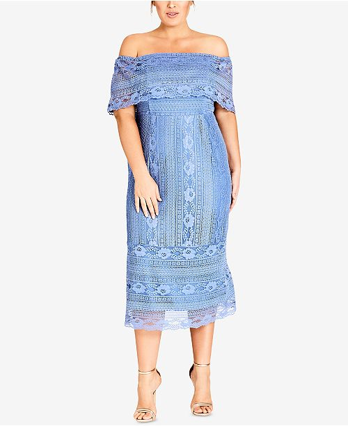 301f1e5f652 City Chic Trendy Plus Size Off-The-Shoulder Lace Dress   Reviews ...