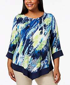 Alfred Dunner Plus Size Royal Street Printed Necklace Top