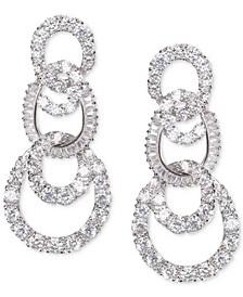 Silver-Tone Pavé Swirl Tiered Drop Earrings