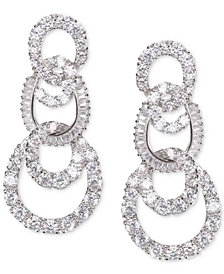 Nina Silver-Tone Pavé Swirl Tiered Drop Earrings