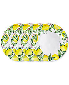 "Q Squared	Limonata 4-Pc. Melamine 10.5"" Dinner Plate Set"