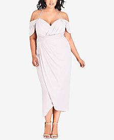 City Chic Trendy Plus Size Off-The-Shoulder Tulip-Hem Midi Dress