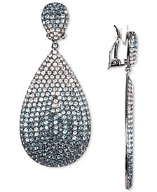 Silver-Tone Pavé Clip-On Drop Earrings