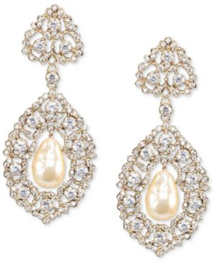 NINA Gold-Tone Cubic Zirconia & Imitation Pearl Drop Earrings in Gold/Ivory