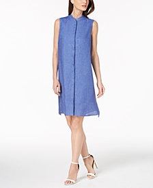 Anne Klein Linen Mandarin-Collar Dress