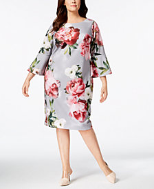 Calvin Klein Plus Size Floral Bell-Sleeve Dress